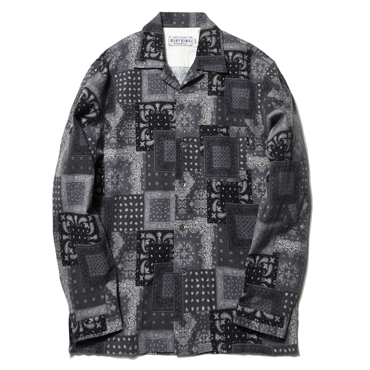 DV. LOT502 PAISLEY OPEN COLLAR SHIRTS  -BLACK-