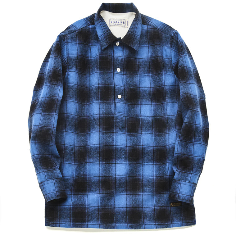 DV. LOT504 PLAID WOOL PULLOVER SHIRTS  -ROYAL BLUE-