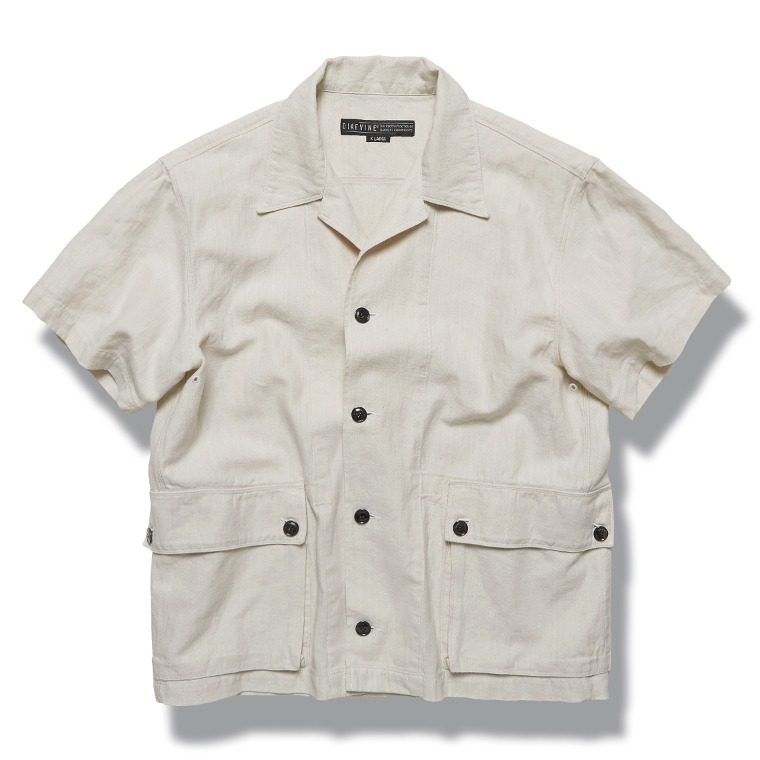 DV. LOT609 Linen Denim 1/2 Shirts -ECRU-
