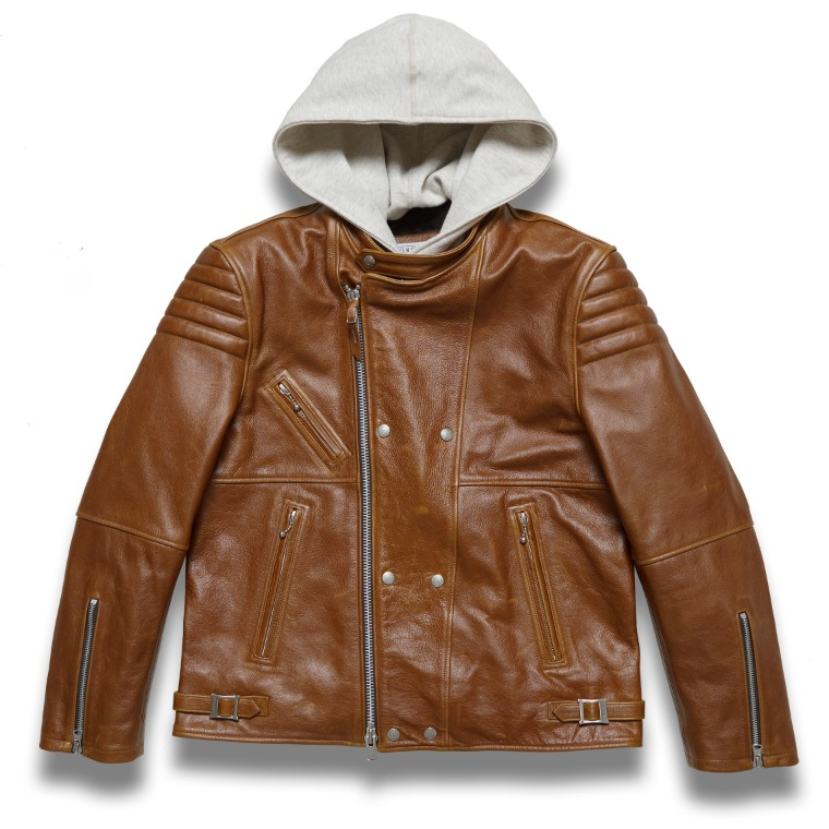 "DV. LOT 612 ""MARK"" Hoodie leather Jacket -BROWN-"