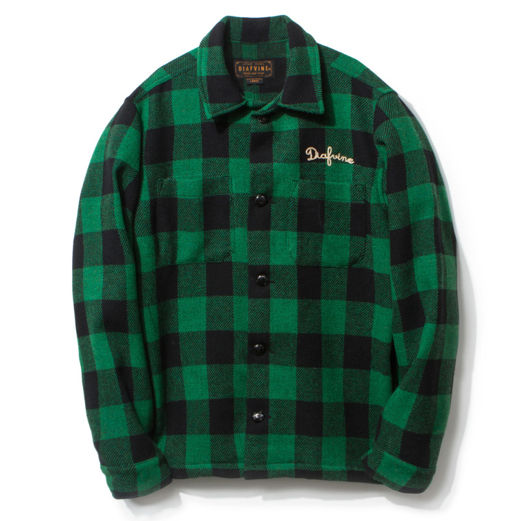 DV. LOT431 PLAID WOOL SHIRT JKT -GREEN&BLACK-