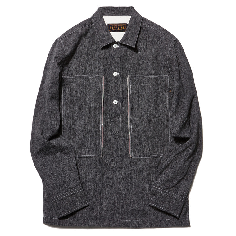 DV. LOT503 SELVEDGE INDIGO COVERT PULLOVER SHIRTS  -BLACK-