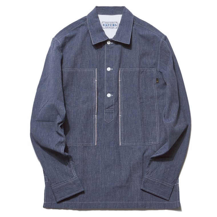 DV. LOT503 SELVEDGE INDIGO COVERT PULLOVER SHIRTS  -LIGHT INDIGO-