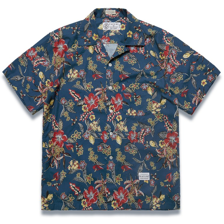 DV. LOT590 FLORAL PATTERN SHIRTS -NAVY-