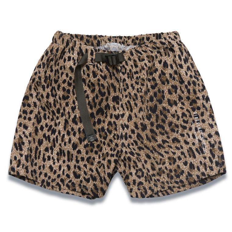 DV. LOT591 LEOPARD WAIST BELT SHORTS -BROWN-